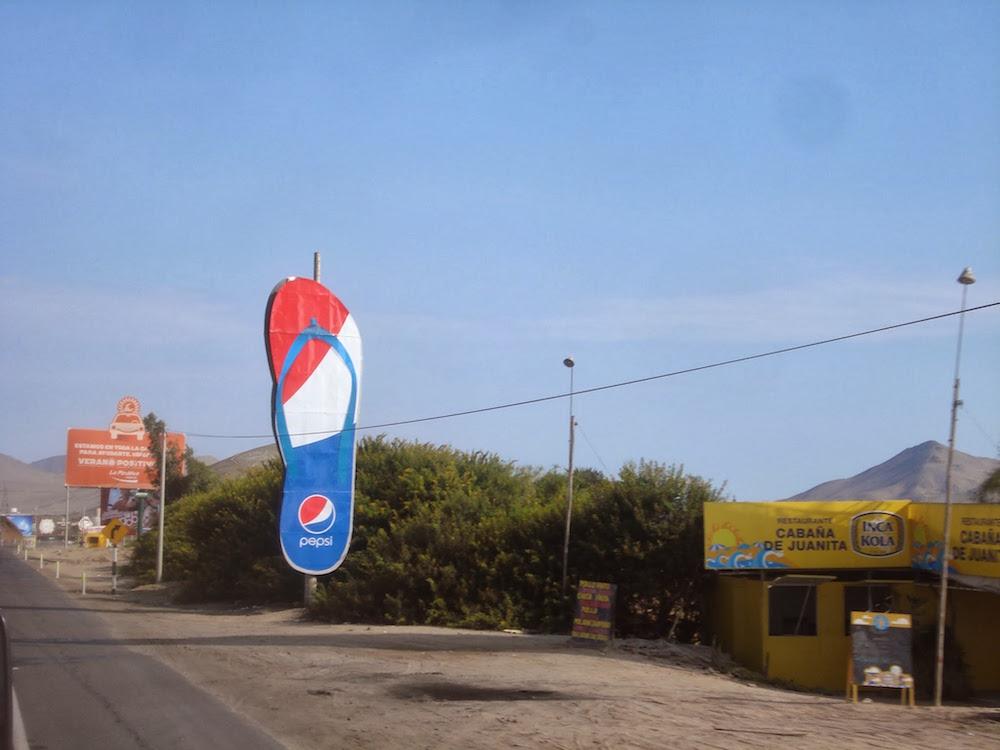 publicité pour pepsi sur la Panamericana au Pérou