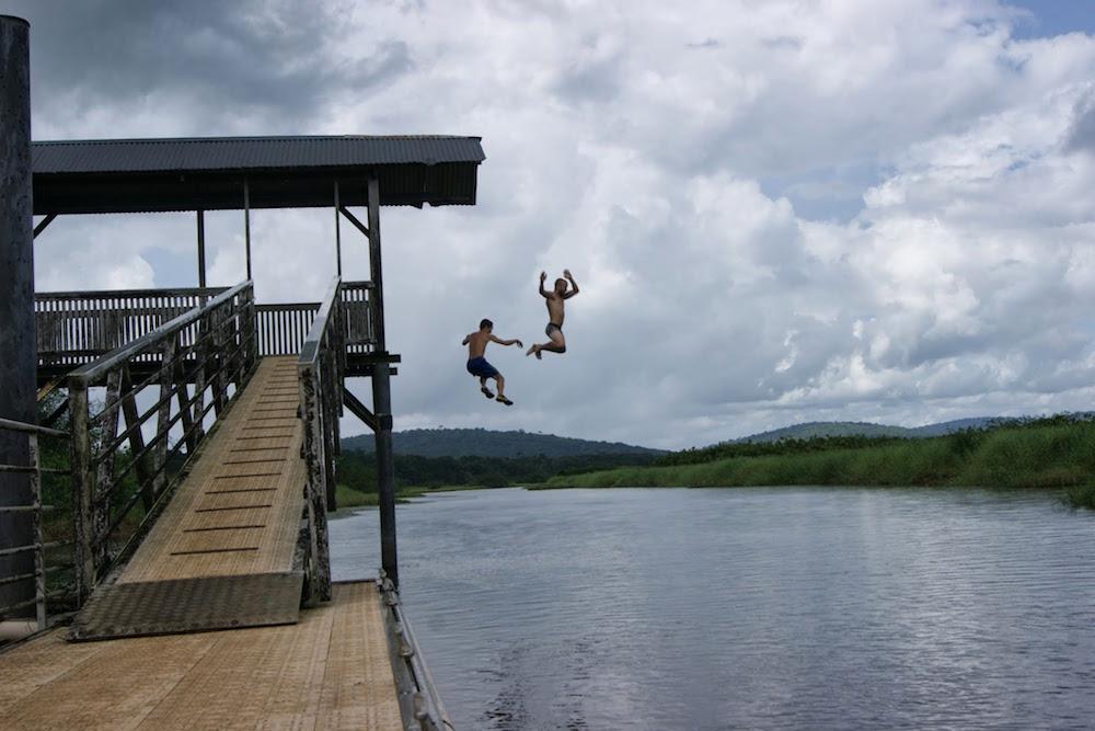 Baignade dans les marais de Kaw en Guyane