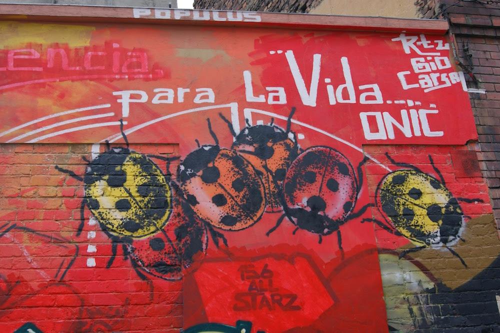 street art coccinelles à Bogota Colombie