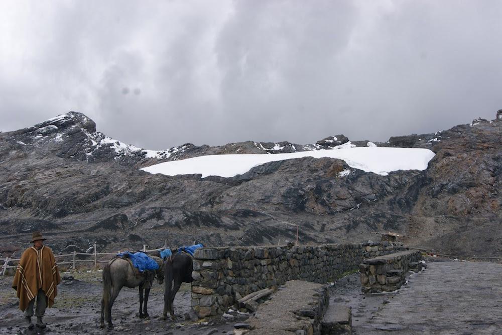 quechua et so cheval au glacier pastoruri