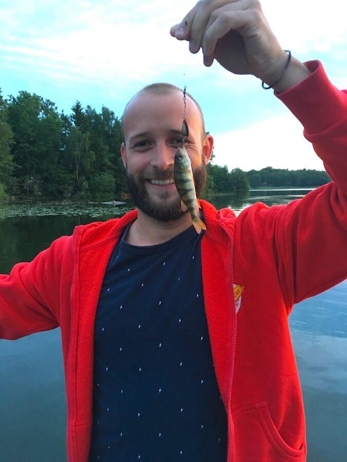 micro perche pêchée à la canne