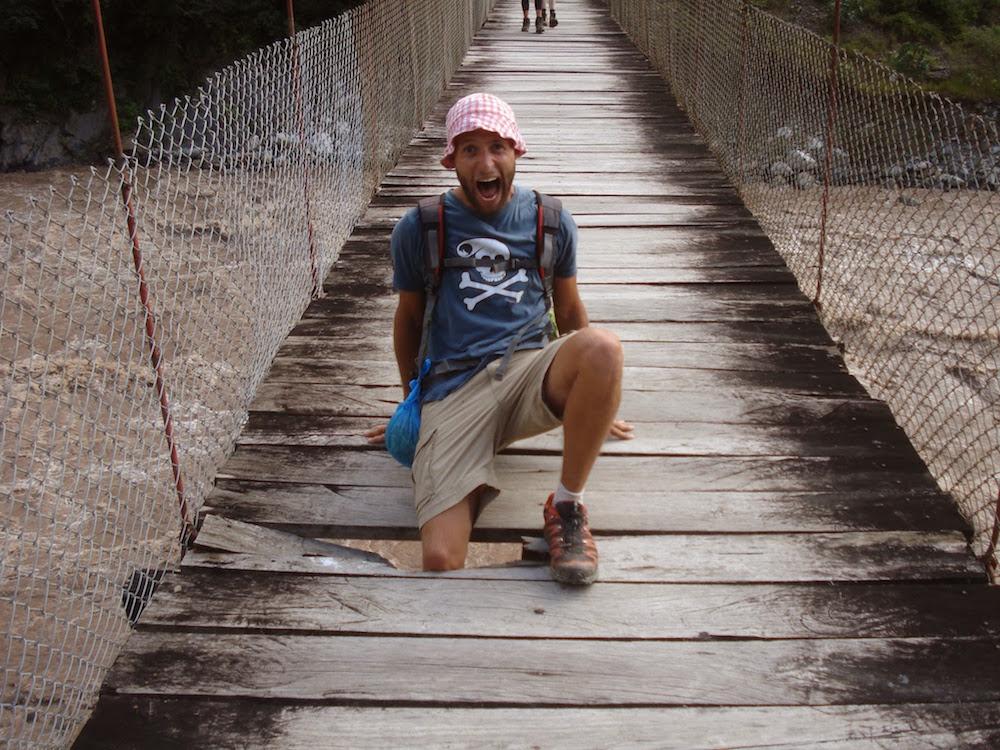 pont suspendu Pérou cochonou