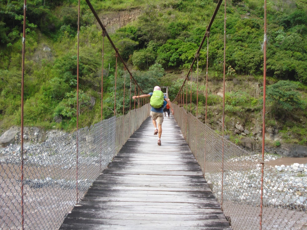 pont suspendu pérou santa maria inca jungle